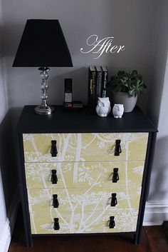wall papered dresser