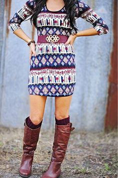Love this outfit...boots with a cute dress! Add leggings underneath for color & warmth :)