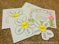 super cute idea for teaching compound words! Love this free game for a spring time center! Teaching Grammar, Teaching Language Arts, Student Teaching, Teaching Reading, Teaching Ideas, Learning, Guided Reading, 2nd Grade Ela, First Grade Reading