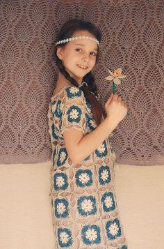 Designer crochet lace granny square boho girl by RuchkiKruchkI, $650.00