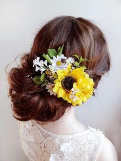 sunflower hair clip sunflower hair comb daisy hair by thehoneycomb