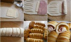 DIY Baked Buns Filled With Ham And Cheese - Find Fun Art Projects to Do at Home and Arts and Crafts Ideas neat idea for finger food appetizers Cheese Recipes, Cooking Recipes, Bread Recipes, Bread Shaping, Bread Appetizers, How To Make Sandwich, Think Food, Bread And Pastries, Puff Pastries