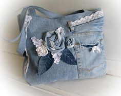 Jean blue boho bag with applique a rose Denim patchwork handbag  with lace Handmade bag Recycled jeans Jean patchwork Made of jeans