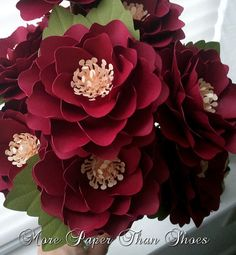 Stunning paper flowers for a fall arrangement. Handmade Paper Flowers  Stemmed  Custom by More Paper Than Shoes