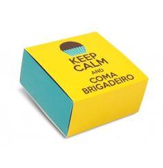 Embalagem p/ 4 brigadeiros com berço - Keep Calm - pct c/ 100 unidades