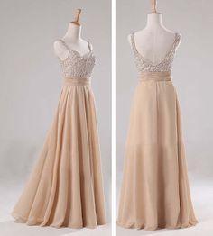 Champagne chiffon long bridesmaid dress V neck A line prom evening wedding party formal dress