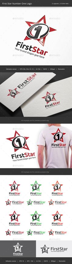 Number One First Star	  Logo Design Template Vector #logotype Download it here: http://graphicriver.net/item/number-one-first-star-logo/9194692?s_rank=30?ref=nexion
