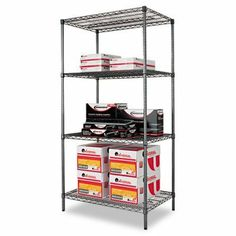 Industrial Wire Shelving Starter Kit - Four Shelves, 36w x 24d x 72h, Black(sold individuall) by Alera. $140.28. Industrial Wire Shelving Starter Kit - Four Shelves,  36w x 24d x 72h,  Black(sold individuall)