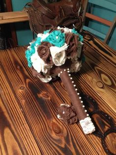 rustic wedding/ country wedding/ bouquet/burlap/cream/ chocolate/ turquoise/lace/ pearls