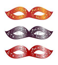 masque carnaval: 3 versions de masques de carnaval. Illustration