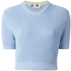 MSGM cropped sweater (705 BRL) ❤ liked on Polyvore featuring tops, sweaters, shirts, crop top, blue, ribbed sweater, ribbed crop top, blue sweater, short sleeve tops and shirt sweater