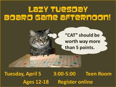 Scrabble, Clue, Jenga, Uno... we've got the games to fill up a lazy afternoon. Grab some friends and get your game on in the Main Library Teen Room!