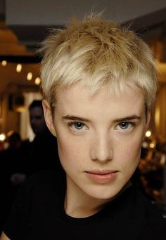 I love this short blonde pixie haircut and the good new is: I have an appointment with my hairdresser this afternoon :) Blonde Pixie Haircut, Short Pixie Haircuts, Pixie Hairstyles, Blonde Hair, Cool Hairstyles, Latest Hairstyles, Very Short Hair, Short Hair Cuts, Short Hair Styles