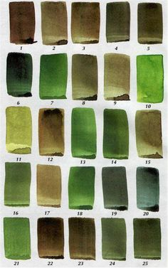 Color mixing recipes for artists, mixing green, painting with watercolor Watercolor Tips, Watercolour Tutorials, Watercolor Techniques, Painting Techniques, Watercolor Paintings, Watercolors, Green Watercolor, Watercolour Palette, Oil Painting Lessons