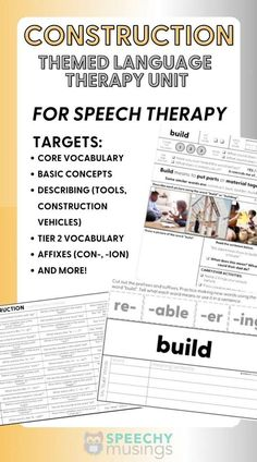 Looking for a fun and unique way to get your speech therapy students engaged in their language therapy sessions? Try this fun construction themed language therapy unit! This themed language therapy unit includes a wide variety of materials and resources for your students with language goals using a fun and relatable CONSTRUCTION theme! Receptive Language, Speech And Language, Speech Therapy Activities, Language Activities, Figurative Language Activity, Construction Theme, Vocabulary Building, Sentences, Frases