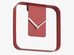 'outline' metal red square wall clock