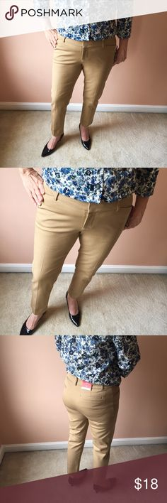 Khaki Ankle Length Merona Stretch Pants NWT Super comfortable and sleek khaki stretch work pants, perfect for office wear. Mid- rise, slim through hip and thigh.   Materials: 95% cotton 5% spandex Merona Pants Ankle & Cropped