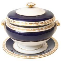 "Wedgwood Cobalt Blue Soup Tureen and Stand, ""Whitehall"" Three-Piece Set"