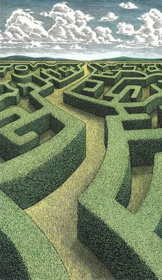 douglas smith - American artist Douglas Smith recently completed a series of paintings aptly titled 'Adventure' that convey vivid scenes of voyage, con. Labyrinth Garden, Labyrinth Maze, Maze Drawing, Douglas Smith, Scratchboard, Environment Concept Art, Fractal Art, Collage Art, Illustrators