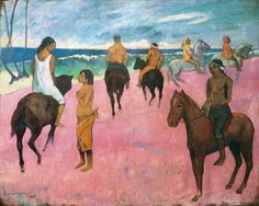 Paul Gauguin...Riders on the Beach, 1902. Private Collection, London. Although this painting pays tribute to Degas' painting of the races at Longchamp, symbolism has by now superseded realism. The two hooded figures in the upper right resemble tupapau, guiding the other riders in their mysterious journey to the other world.