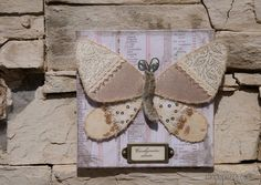 Textile wall art  Crazy quilted Ivory Butterfly with by miopupazzo, $35.00