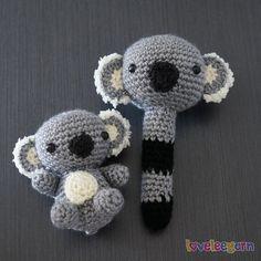 Crochet Koala and Rattle by LoveLeeYarn on Etsy Crochet Bear, Crochet Toys, Textiles, Australian Animals, Baby Rattle, Kangaroos, Baby Toys, Knits, Baby Gifts