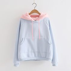 Cute students hoodie fleece pullover pastel blue and pink retro hoodie kawaii Pastel Fashion, Kawaii Fashion, Cute Fashion, Fashion Outfits, Mode Kawaii, Pastel Outfit, Kawaii Clothes, Pastel Clothes, Look Cool