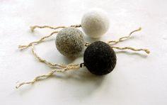 Felt organic catnip ball with tail Set of THREE  felt by DreamPaws