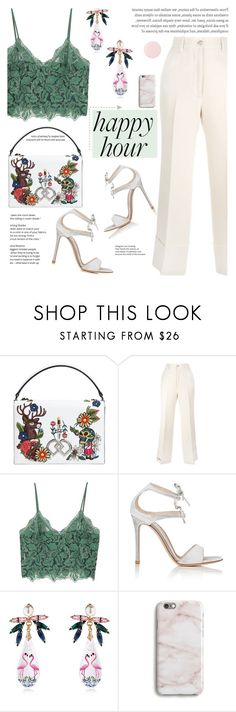 """Bottoms Up: Happy Hour"" by kossofi ❤ liked on Polyvore featuring Dsquared2, Gucci, MANGO, Gianvito Rossi, Anton Heunis, Harper & Blake, Deborah Lippmann and polyvoreeditorial"