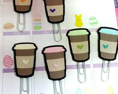 Coffee Cup/Latte planner clips for your Erin Condren, Filofax, Kate Spade, Plum Paper planners or use as a bookmark