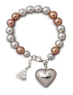 Von Treskow Bracelet Two Tone Ball with Puff heart Coin Pendant, Bling, Pendants, Charmed, Jewellery, Chain, Heart, Bracelets, Pretty