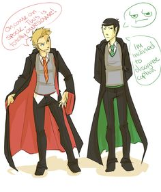 kirk and spock as draco and harry. (source: unknown?)