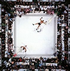 In 2003, this was voted the greatest sport photo ever by the Observer. Even Neil Leifer calls it his best shot – one, he says, on which he cannot improve. He's right. The pristine white canvas is the perfect backdrop, accentuating the two fighters whose figures are so neatly counterposed. I can't imagine boxing will ever look this sublime again.