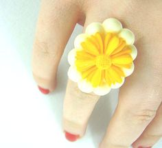 Cream oval framed yellow orange daisy adjustable by bunnyboutique, $19.00
