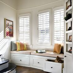 Nook Plantation Shutters Two things I want in my next home - Plantation Shutters and a window seat!Two things I want in my next home - Plantation Shutters and a window seat! Decor, Room Design, Interior, Home, Custom Window Shade, House Interior, House Blinds, Interior Design, Window Seat