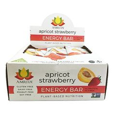 Paleo Apricot Strawberry Energy Bars - Gluten-Free, Soy-Free, Dairy-Free, Non-GMO Certified - Vegan, Raw, Kosher - Kid-School Safe Snack - Clean fuel for athletes - Pack of 12 bars by Amrita ** Check out this great product.