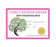 Most Grandchildren Award Tree In Bloom Theme Free Family Reunion Certificate Template