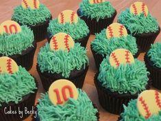 "Softball Birthday Cupcakes Chocolate espresso cupcakes with vanilla buttercream ""grass"", gum paste softballs and toppers for. Softball Cupcakes, Softball Treats, Softball Birthday Parties, Cupcakes For Boys, Fun Cupcakes, Cupcake Cakes, Softball Party, Baseball Party, Cupcake Ideas"