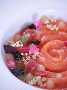 Raw Salmon with Rhubarb Eatable Flowers, Raw Salmon, Ginger Flower, Soup Plating, Hand Blender, 200 Calories, The Dish, Lime, Nutrition