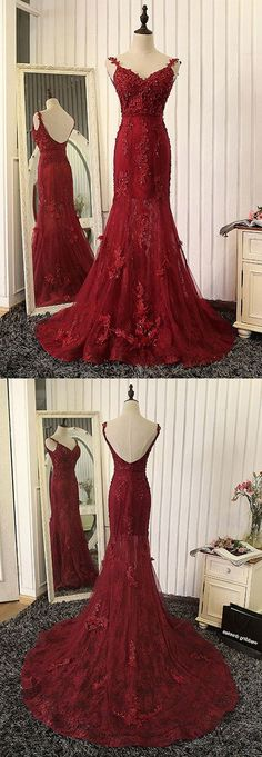 New Arrival Mermaid V-Neck Red Lace Long Prom Dress with Appliques red prom dresses 2017