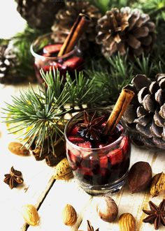 New Year or Christmas composition with walnuts, mulled wine, hazelnuts by Wild Drago Shop on Christmas Home, Holly Christmas, Mulled Wine, Christmas Traditions, Pistachio, Warm And Cozy, Composition, Christmas Decorations, Mistletoe