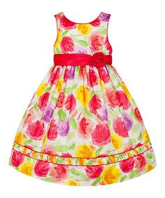 Look what I found on #zulily! White & Red Floral Rosette Dress - Toddler & Girls #zulilyfinds