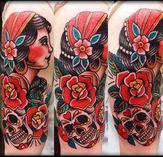 Gypsy with sugar skull tattoo I Tattoo, Cool Tattoos, Gypsy Tattoos, Sugar Skull Tattoos, Tattoo Inspiration, Art Work, Tatting, Body Art, Piercings