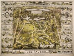 Aerial Map View of Central Park 1863