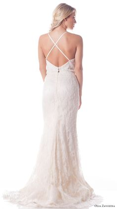 olia zavozina bridal spring 2017 sleeveless halter neck lace blouson trumpet wedding dress (anastasia) bv cross straps train