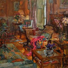 Susan Ryder, RP NEAC (English) Drawing Room with Pink Shawl