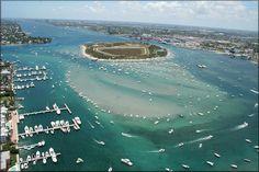 Aerial View Of Peanut Island, Palm Beach Inlet (Palm Beach, Florida)