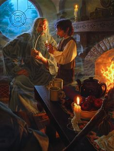 Гэндальф и Фродо The Inheritance by Raoul Vitale (from Tolkien's Lord of the Rings), in Scruffy Perkin's Tolkien Art Comic Art Gallery Room Jrr Tolkien, Gandalf, Legolas, Fellowship Of The Ring, Lord Of The Rings, Superwholock, Fantasy World, Fantasy Art, Shire