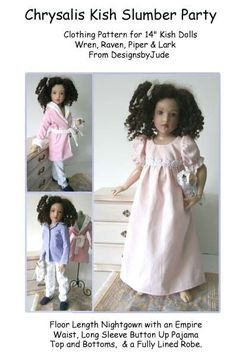 """Pajama Doll Clothes Sewing Pattern for 14"""" Kish Raven Lark Piper Wren #DesignsbyJude"""