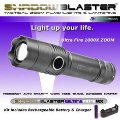 Shadow Blaster Ultra Fire Tactical Zoom Flashlight + Battery & Charger #shadowBlasterUltraFire